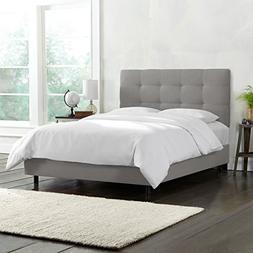 Skyline Furniture Tufted Bed, Queen, Linen Grey