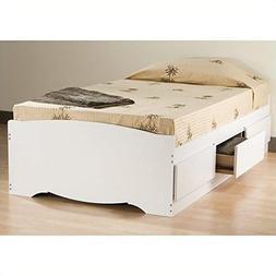 ioneyes Twin Bed Bookcase White Monterey Platform Storage