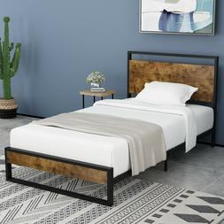 twin bed frame with wood headboard high