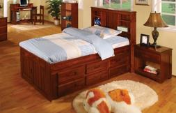 Twin Captains Bed Bookcase with 3 Drawer and Trundle, Desk,