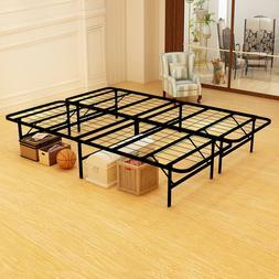 18 inch Foldable Bed Frame Metal Platform Base Box Spring Re