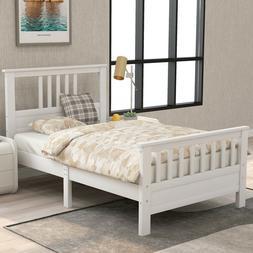 Twin/Full Size Wood Bed Frame Platform w/ headboard &footboa
