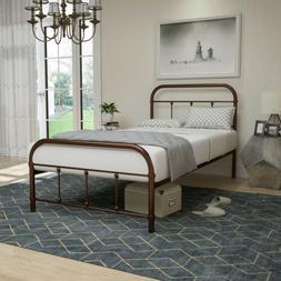 Twin Size Metal Bed Frame Platform Bedroom Antique Rustic w/