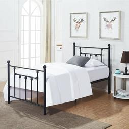 TWIN METAL BED FRAME, Victorian Style, Platform Bed, VECELO