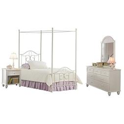 Bowery Hill 4 Piece Twin Metal Canopy Bedroom Set in Off Whi