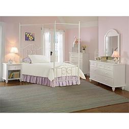 Bowery Hill 5 Piece Twin Metal Canopy Bedroom Set in Off Whi