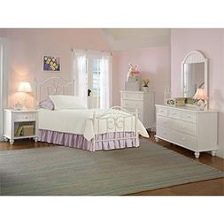 Bowery Hill 5 Piece Twin Metal Spindle Bedroom Set in Off Wh