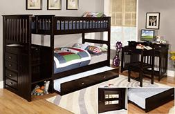 Twin Over Twin Stair Stepper Bed with Trundle in Espresso Fi