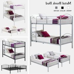 Twin over Twin Metal Bunk Bed Frame w/Ladder Children Kid Te