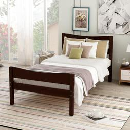 Twin Platform Bed Frame w/Headboard Wooden Slat Support Whit