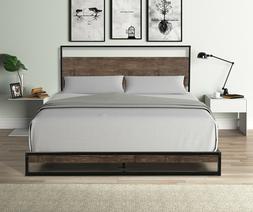 Twin/ Queen Bed Frame Platform Metal Headboard Mattress Foun
