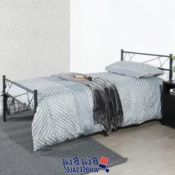 Twin Size Metal Bed Frame Mattress Foundation Modern Headboa