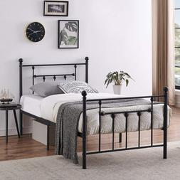 Vecelo Twin Size Bed Frame Metal Platform Mattress Foundatio
