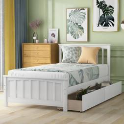Twin Size Bed Frame W/Trundle Matress Platform Storage Drawe