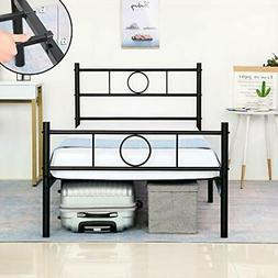 GreenForest Twin Size Bed Frame with Headboard Metal Heavy D