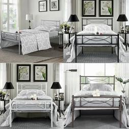 Twin Size Bedroom Metal Bed Frame Platform Headboards 6 Leg