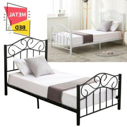 Kids Adults Metal Bed Frame Twin Size w/Headboard Footboard