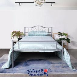 Twin Size Metal Bed Frame Mattress Foundation Vintage Headbo