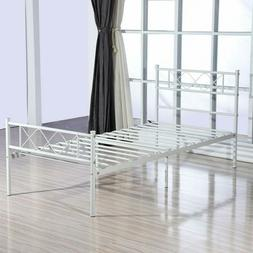 Twin Size Metal Bed Frame Mattress Foundation w/ Headboard F