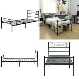 Twin Size Metal Bed Frame Platform 6 Leg W/Headboards Bedroo