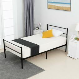 Twin Size Metal Bed Frame Platform Headboard Footboard Furni