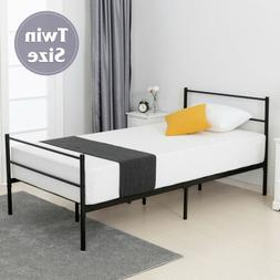 Twin Size Metal Bed Frame Platform Headboard Footboard Bedro