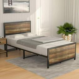 Twin Size Metal Bed Frame Platform Rustic Farmhouse Mattress