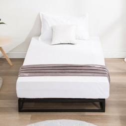 Twin Size Metal Bed Frame Platform w/ Wood Slats Mattress Fo