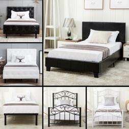 Twin Size Metal Bed Frame Upholstered Headboard Platform Kid