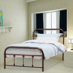 Twin Size Metal Bed Frame with Headboard Footboard Wood Slat