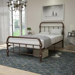 Twin Size Metal Bed Frame Wood Slats Platform with Headboard