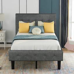 Twin Size Platform Bed Frame w/Tufted Headboard Grey Upholst