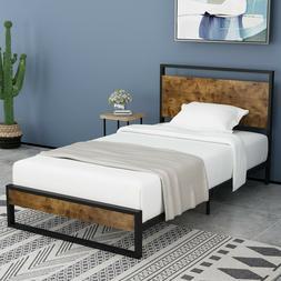 TWIN Size Platform Metal Bed Frame with Wood Headboard & Foo