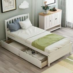 Platform Bed Frame Twin Size With Wood Slats 2 Drawer Tufted