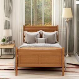 Twin Size Wooden Platform Bed Frame Sleigh Bed Headboard Foo