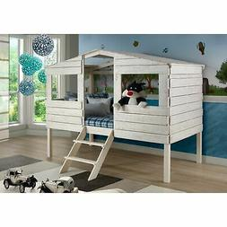 Twin Tree House Loft Bed in Rustic Sand Finish