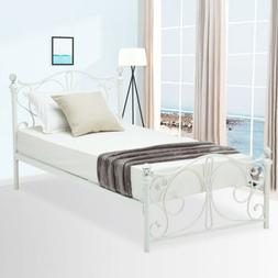 Twin Size Metal Bed Frame Finial Headboard Footboard Girls B