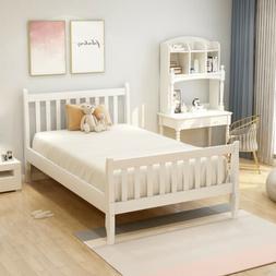 Twin Wood Platform Bed Frame Wooden Mattress Foundation w/Wo