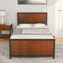 Twin XL Metal Bed Frame Platform Rustic Farmhouse Mattress F