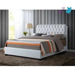 Upholstered Bed Frame Ireland Queen Faux Leather Bed White