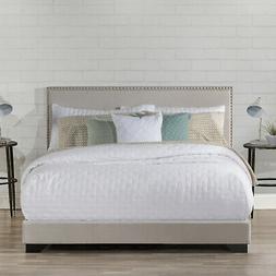 Upholstered Bed Frame Queen Full Size Wood Slats Platform He