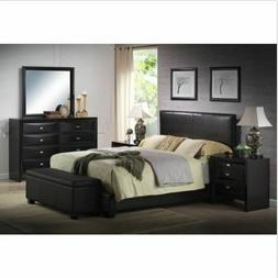 Upholstered Bed Frame w/ Headboard Faux Leather Full Queen K