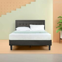 Zinus Upholstered Button Tufted Premium Platform Bed with le