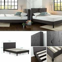 Zinus Upholstered Diamond Stitched Platform Bed With Wooden