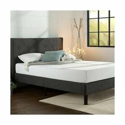 NEW Zinus Upholstered Diamond Stitched Platform Bed w/ Woode