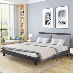 Upholstered Platform Bed Queen Panel Bed Frame Gray Linen He