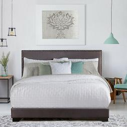 Queen Size Upholstered Bed Frame With Wood Slat Platform Hea