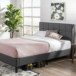 Zinus Upholstered Square Stitched Platform Bed with Wooden S