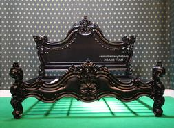 "USA King Size 76""x80"" MATT BLACK Gothic designer Baroque mah"