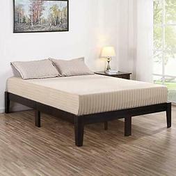 VC14SF02F Deluxe Wood Platform Bed Frame, Full, Dark Brown K